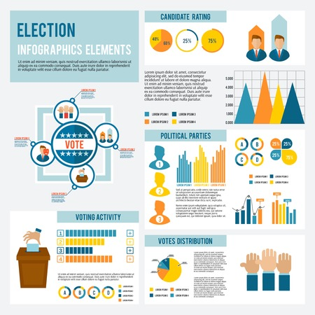 Election and voting icon infographic set with candidates debates symbols and charts vector illustration Illustration