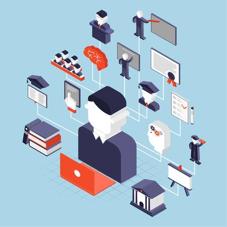 social: Higher education knowledge university decorative icons isometric set vector illustration Illustration