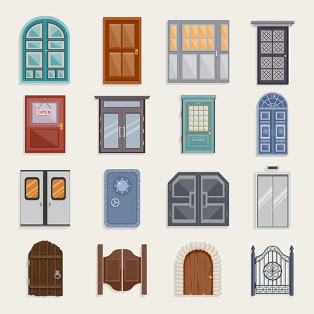 glass doors: Door house entrance architecture elements flat icon set isolated vector illustration