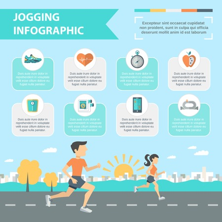 Jogging and running infographics set with people running outdoor vector illustration Иллюстрация