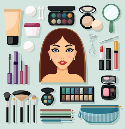woman accessories: Make-up flat decorative icons set with woman face and beauty accessories isolated vector illustration Illustration