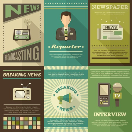 interview: Journalist interview newspaper news broadcasting mini poster set isolated vector illustration