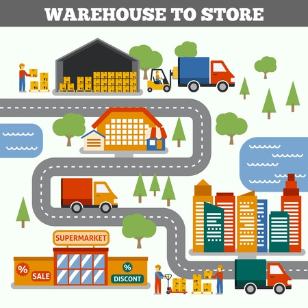 Warehouse to store transportation cargo delivery and logistic concept vector illustration