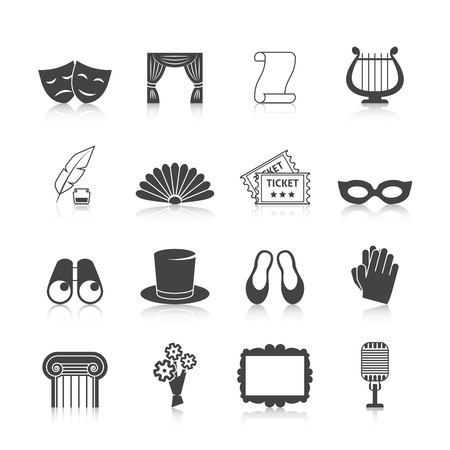 theater curtain: Theatre icon set black with mask curtain scroll harp isolated vector illustration Illustration