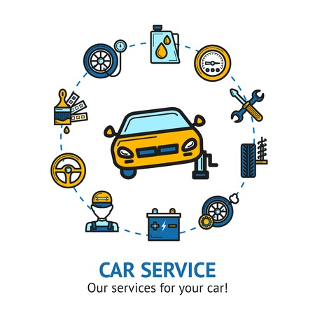 Car service concept with auto repair and maintenance decorative icons set vector illustration Illustration