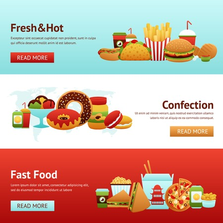 fried noodles: Fast food horizontal banner set with donuts soda potato chips isolated vector illustration