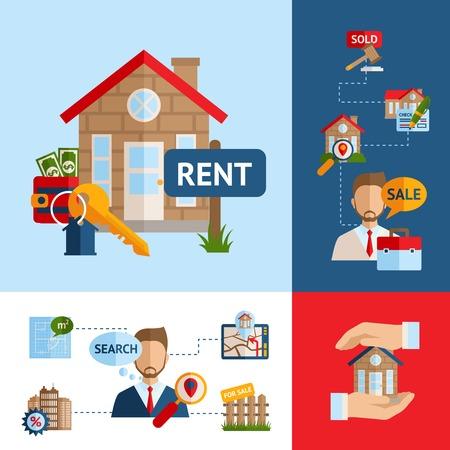 Inmobiliaria concepto de diseño de conjunto con símbolos de agentes de venta de construcción de viviendas aisladas ilustración vectorial