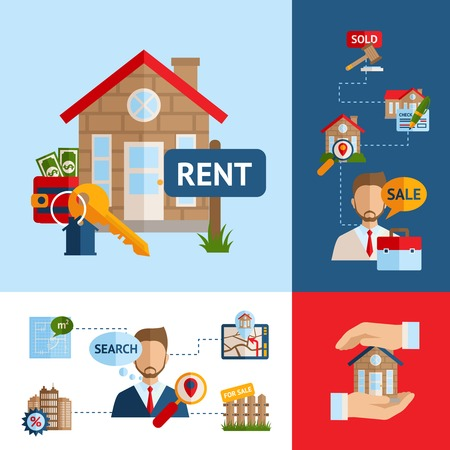 Real estate design concept set with house building sale agent symbols isolated vector illustration