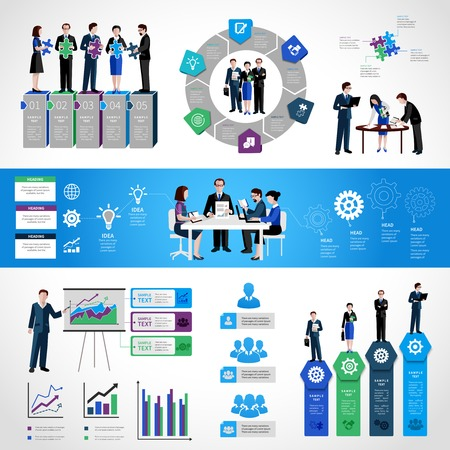 global communication: Teamwork infographic set with business people on conference meeting discussion symbols and charts vector illustration