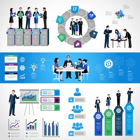 liderazgo empresarial: Trabajo en equipo conjunto infografía con gente de negocios en símbolos y gráficos de discusión reuniones conferencia ilustración vectorial