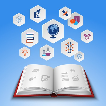 science icons: Education concept with realistic open book and hexagon knowledge icons set vector illustration Illustration