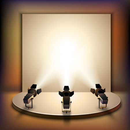 spotlight white background: Show studio film scene empty stage interior with spotlights realistic vector illustration