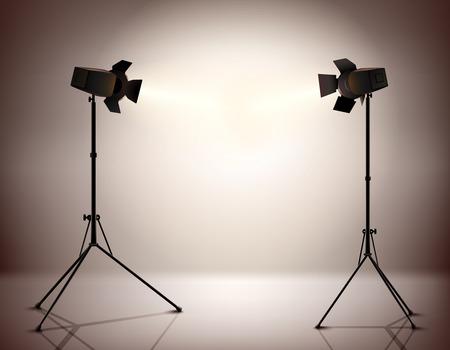 Debout stroboscopique trépieds électrique spots équipement de photographie professionnelle fond réaliste illustration vectorielle Banque d'images - 37345163