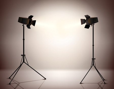 photography studio: Standing strobe tripods electrical spotlights professional photograph equipment realistic background vector illustration Illustration