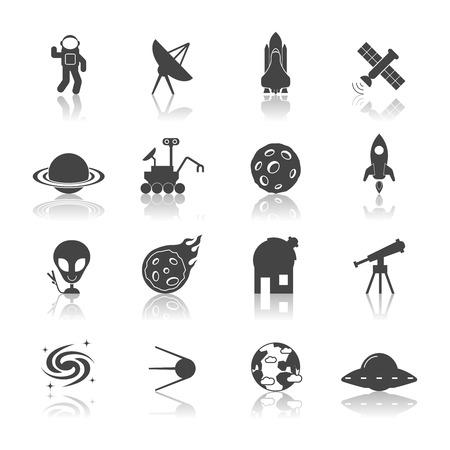 astronaut: Iconos de exploraci�n espacial de galaxias conjunto negro con aislados lanzadera astronauta sat�lite nave espacial ilustraci�n vectorial