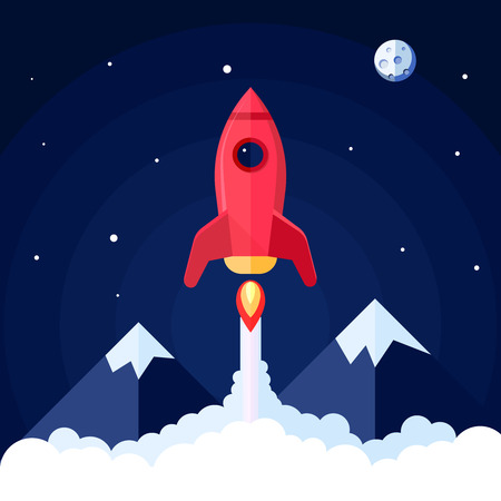 Space poster with rocket launch with mountain landscape on background vector illustration Illustration