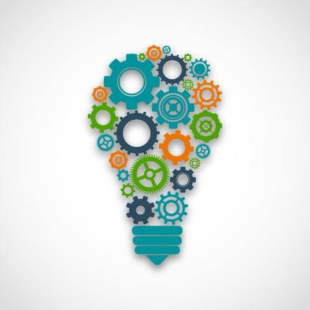 Ampoule faite de roues dentées de couleur travail d'équipe concept abstrait de la coopération de l'esprit illustration vectorielle