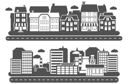 urban building: Landscape city industrial and urban building black horizontal banner set isolated vector illustration Illustration