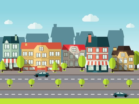 panoramic view: Landscape city panoramic view background with urban town buildings vector illustration Illustration