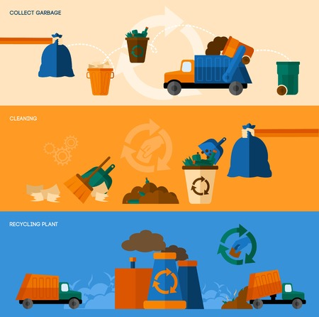 pollution: Garbage collect cleaning and recycling plant horizontal banner set isolated vector illustration