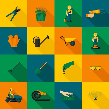 gardening hose: Lawn man icon flat with gardening equipment set isolated vector illustration Illustration