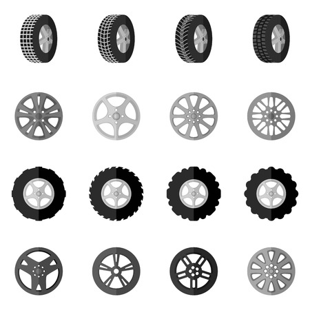 winter tires: Tire service montage and installation icon black set isolated vector illustration