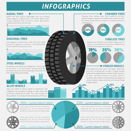 change size: Tire service and wheels montage infographic set with charts vector illustration