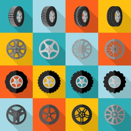 change size: Car and truck tire service installation icon flat set isolated vector illustration Illustration