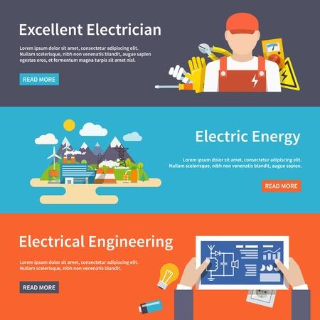 electricidad: Electricidad banner horizontal plana conjunto con elementos de Engeneering energ�a electricista aislado ilustraci�n vectorial