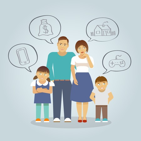 money cartoon: Family with parents and girl and boy children dreaming of money house and toys flat vector illustration