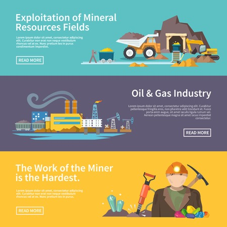 gases: Miner work flat horizontal banner set with exploitation of mineral resources fields oil and gas industry elements isolated vector illustration Illustration