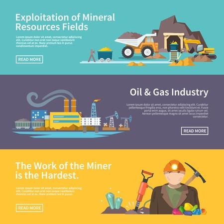 an oil lamp: Trabajo minero banner horizontal plana conjunto con la explotación de los recursos minerales Campos elementos de la industria de gas y petróleo aislados ilustración vectorial