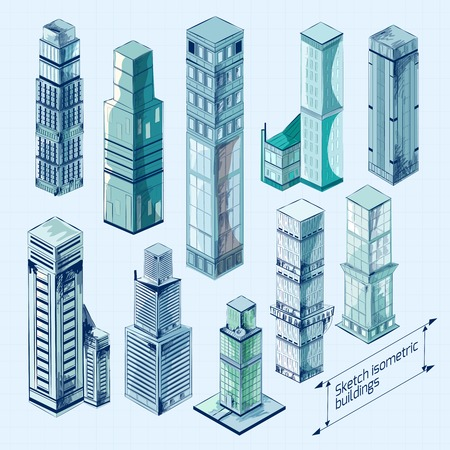 business buildings: Sketch isometric 3d business buildings colored skyscraper decorative icons set isolated vector illustration