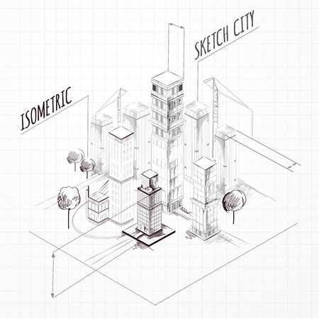 architectural drawings of skyscrapers. City Construction Sketch Isometric Concept With Skyscrapers And Cranes Vector Illustration Architectural Drawings Of