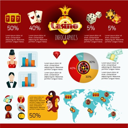 roulette online: Casino infographics set with gambling game of chance symbols charts and world map vector illustration