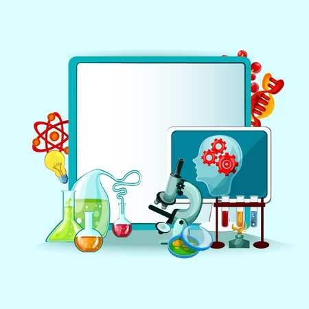 Science research and experiment concept with white board and laboratory equipment vector illustration