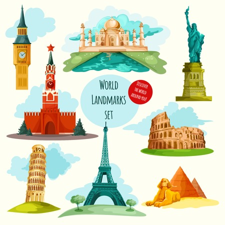 symbol tourism: World landmarks decorative icons set with eiffel tower big ben coliseum isolated vector illustration