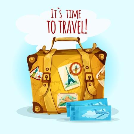 maleta: Concepto de viaje con la maleta de equipaje y pegatinas tur�sticos ilustraci�n vectorial