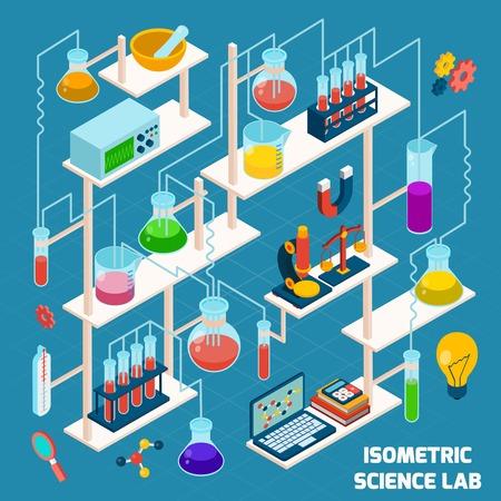 laboratorio: Proceso de investigaci�n del laboratorio de ciencias isom�trica con la qu�mica y la f�sica iconos 3d ilustraci�n vectorial Vectores