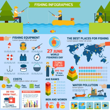 rod sign: Fishing infographics set with outdoor activity equipment and charts vector illustration Illustration