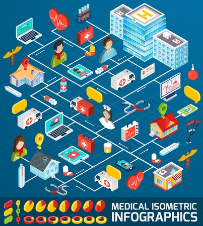 business presentation: Medical infographics set with isometric ambulance medicine and pharmacy symbols vector illustration