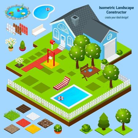 Design de paysage constructeur isométrique avec maison jardin et pelouse éléments d'architecture illustration vectorielle