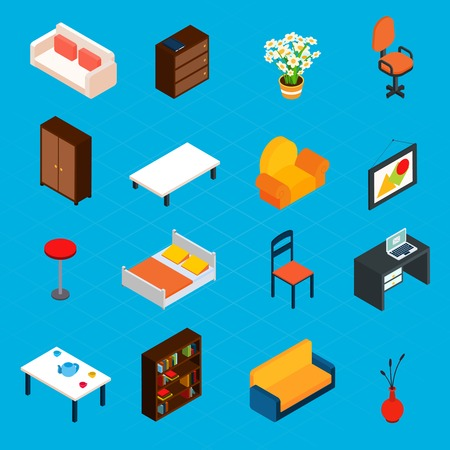 chair: Isometric interior decorative 3d icons set with desk armchair bookshelf isolated vector illustration