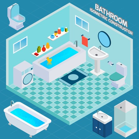bathroom sign: Isometric bathroom and toilet apartment interior with 3d facilities and decor elements vector illustration Illustration