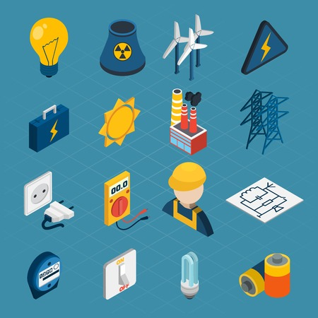 3d icons: Electricity isometric icons set with lightbulb windmill electrician toolbox isolated vector illustration Illustration