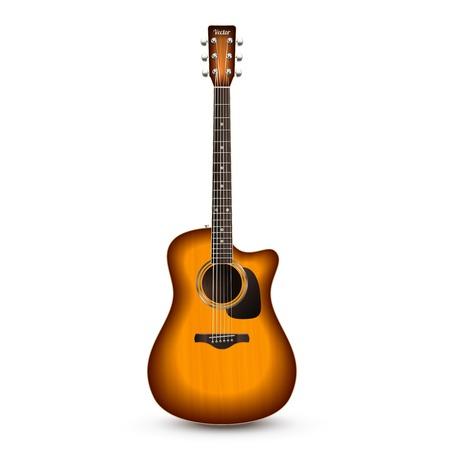 흰색 배경에 벡터 일러스트 레이 션을 격리하는 현실적인 나무 어쿠스틱 기타