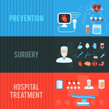 surgery concept: Healthcare prevention pills concept and hospital surgery scalpel treatment equipment banners set flat abstract isolated vector illustration