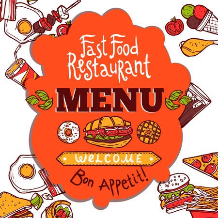 colored background: Fast food restaurant colored menu with sketch dishes drinks and enjoy your meal text vector illustration