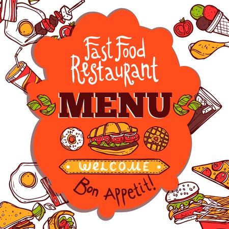 fast food: Restaurante de comida r�pida men� con platos de color croquis bebidas y disfrutar de su comida texto ilustraci�n vectorial Vectores