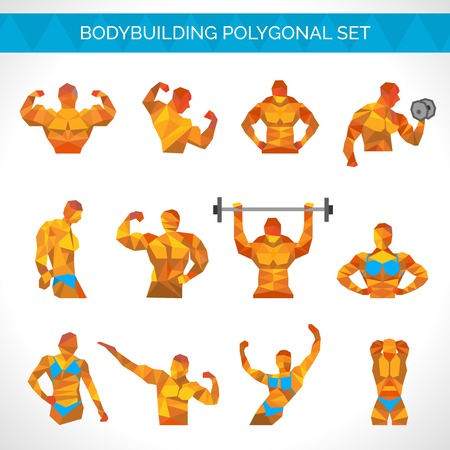 female athletes: Bodybuilding muscle exercise male and female athletes polygonal icons set isolated vector illustration